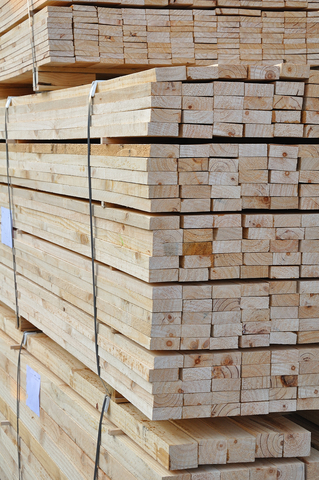 Planks stacked for transport